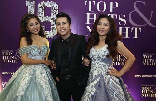 Ca sĩ Dương Đình Trí và các khách mời Mai Phương (trái) và Ngọc Liên