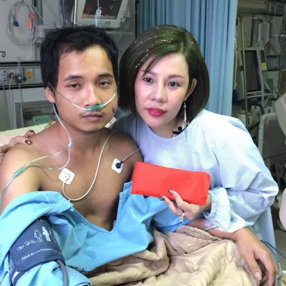 Hoa hậu Châu Mai Thảo đến thăm nạn nhân Phạm Cửu Tín tại bệnh viện
