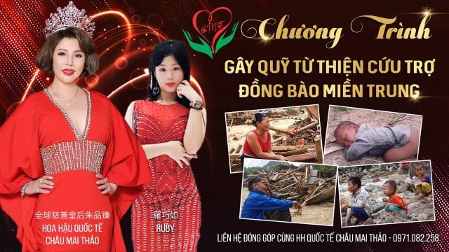 Hoa hậu Châu Mai Thảo và con gái làm poster kêu gọi cộng đồng chung tay cứu giúp các gia đình nạn nhân