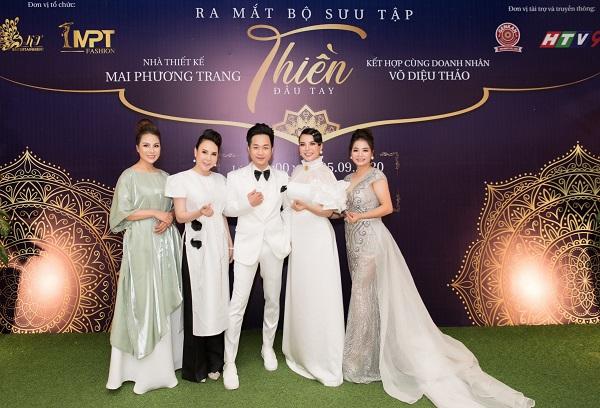 Doanh nhân Võ Diệu Thảo, NTK Mai Phương Trang và ca sĩ Quách Tuấn Du tại buổi họp báo ra mắt bộ sưu tập Thiền