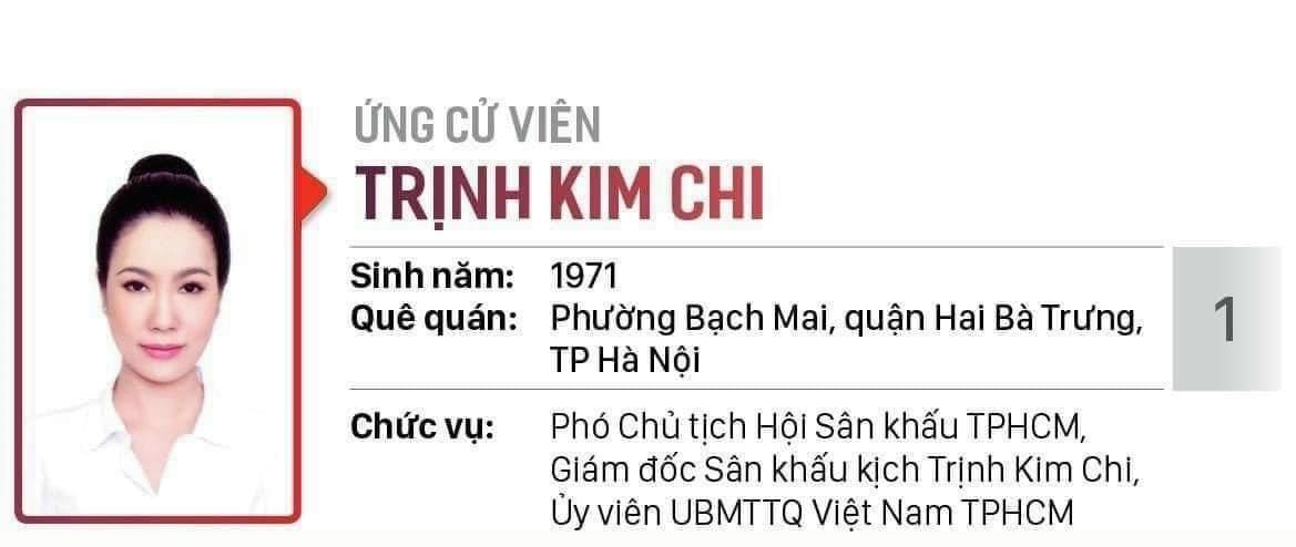 NSƯT Trịnh Kim Chi ứng cử đại biểu HĐND TP.HCM nhiệm kỳ 2021-2026