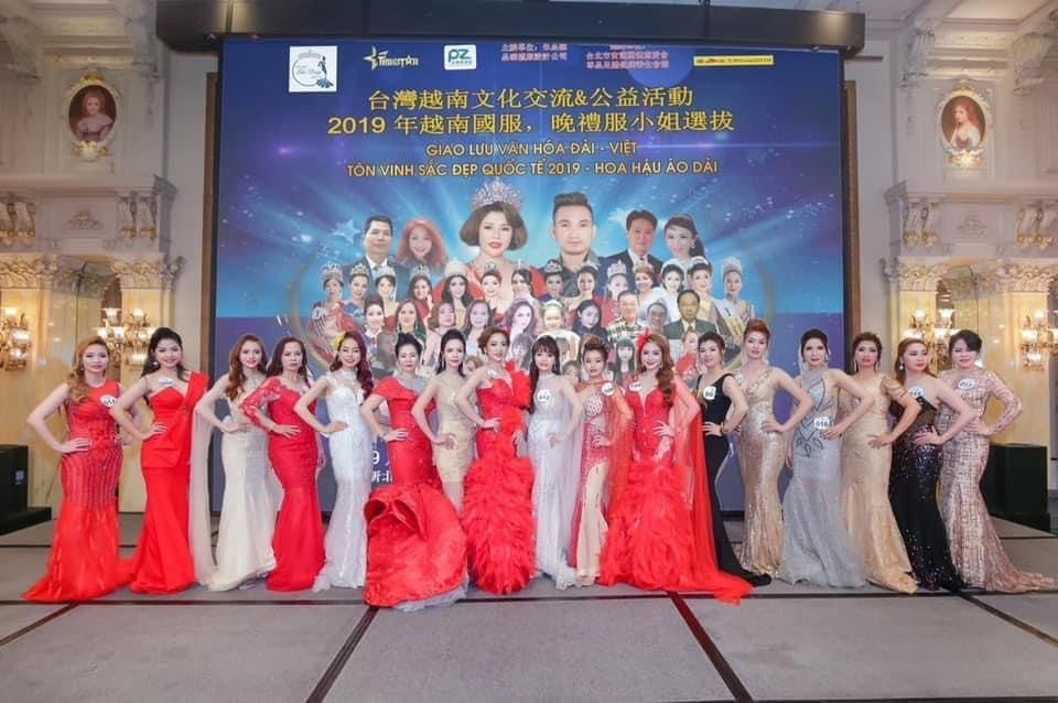 Các thí sinh trong cuộc thi Hoa hậu Doanh nhân quốc tế Taiwan 2020 do hoa hậu Châu Mai Thảo làm trưởng Ban tổ chúc